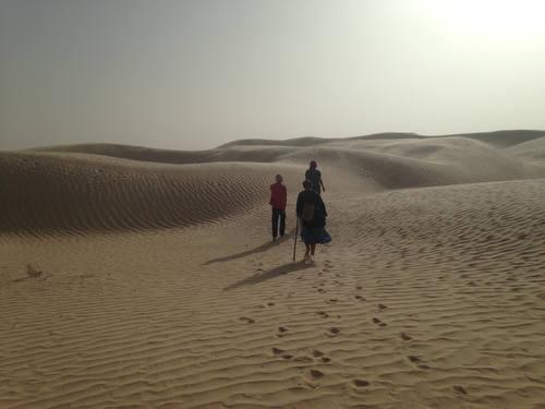 walking in the dunes