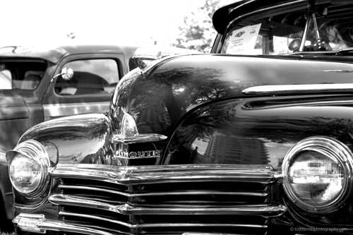 hood of an old Plymouth car