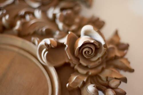 carved wood rose