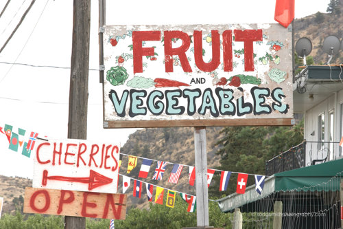 spray painted fruit stand sign