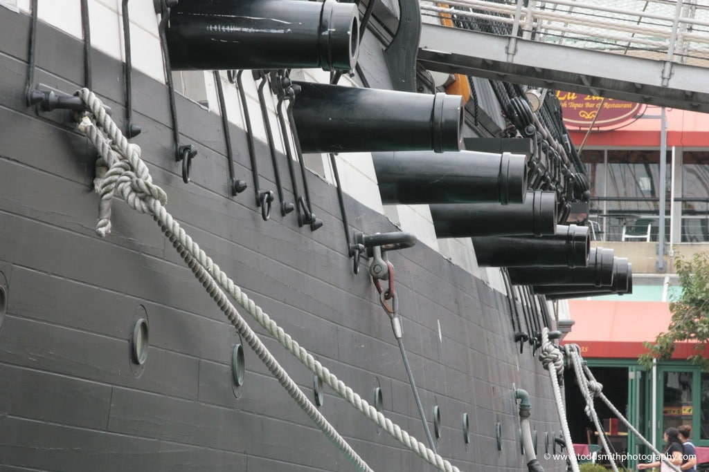 cannons on a ship of war